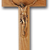 "10"" Oak Cross with Museum Gold Plated Corpus - Unique Catholic Gifts"