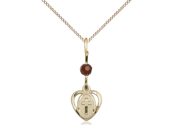 14kt Gold Filled Heart Cross Pendant with a Garnet bead on a inch Gold Filled Light Curb Chain - Unique Catholic Gifts