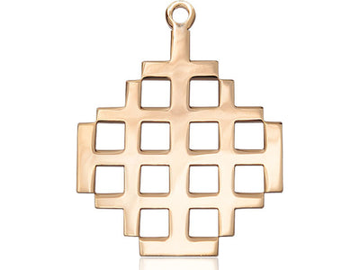 14kt Gold Filled Jerusalem Cross Pendant on a 24 inch Gold Plate Heavy Curb Chain