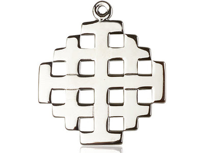Sterling Silver Jerusalem Cross Pendant on a 24 inch Light Rhodium Heavy Curb Chain