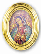"Our Lady of Guadalupe Oval Gold Leaf Frame - 5.5"" x 7"" - Unique Catholic Gifts"