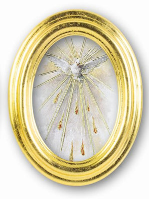 Holy Spirit Oval Gold Leaf Frame - 5.5