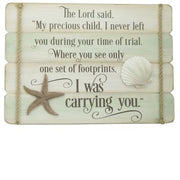 "Footprints with Shell Plaque (14"" x 10"") - Unique Catholic Gifts"