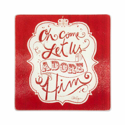 Oh Come Let Us Adore Him Square Glass Trivet (7 3/4