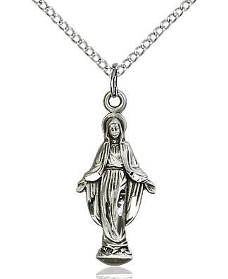 Sterling Silver Miraculous Medal Pendant 7/8