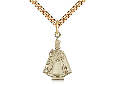 14kt Gold Filled Infant Figure Pendant on a 24 inch Gold Plate Heavy Curb Chain - Unique Catholic Gifts
