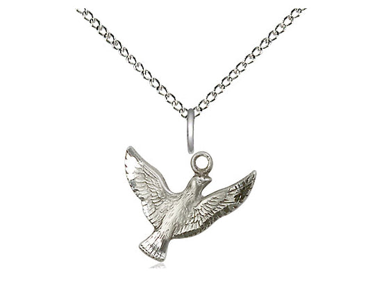 Sterling Silver Holy Spirit Pendant on a 18 inch Sterling Silver Light Curb Chain - Unique Catholic Gifts
