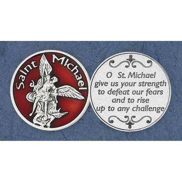St. Michael the Archangel (Red Enamel) Italian Pocket Token Coin