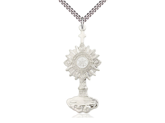 Sterling Silver Monstrance Pendant on a 24 inch Light Rhodium Heavy Curb Chain - Unique Catholic Gifts