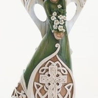 "Irish Angel Woodcut Figurine / Statue 7"" - Unique Catholic Gifts"