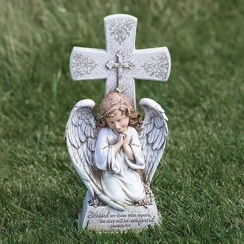 "14.5""H Angel W/cross Garden Statue - Unique Catholic Gifts"
