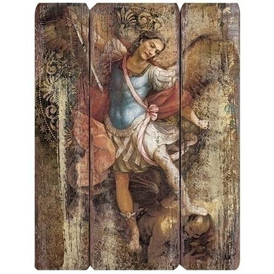St. Michael Rustic Wood Plaque 15