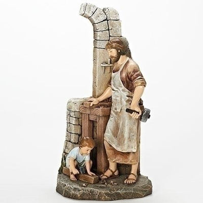 St Joseph Carpenter Statue with Boy Jesus Statue 12 3/4