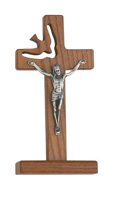 Standing Holy Spirit Crucifix Walnut (6