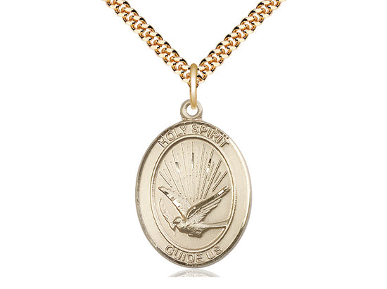 14kt Gold Filled Holy Spirit Pendant on a 24 inch Gold Plate Heavy Curb Chain - Unique Catholic Gifts