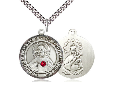 Sterling Silver Scapular Pendant with a 3mm Ruby Swarovski stone on a 24 inch Light Rhodium Heavy Curb Chain - Unique Catholic Gifts