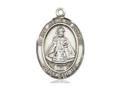 Sterling Silver Infant of Prague Pendant on a 24 inch Light Rhodium Heavy Curb Chain - Unique Catholic Gifts