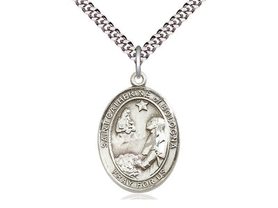 Sterling Silver St Catherine of Bologna Oval Medal