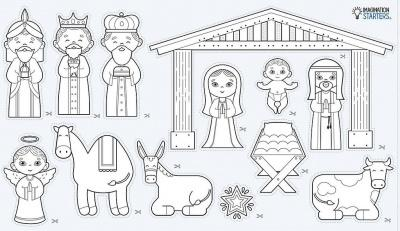 Cut & Color Sticker Roll: Nativity Set