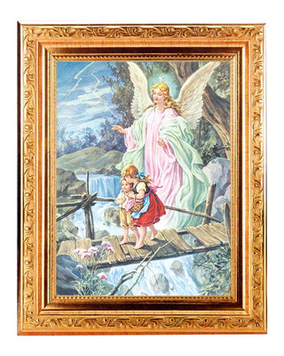 Guardian Angel Print in an Antique Gold Frame (8 1/4