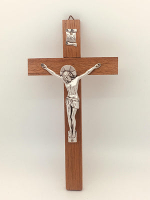 "Wood Crucifix with Metal Corpus (9"") - Unique Catholic Gifts"