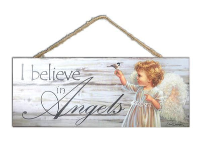 I Believe in Angels Wood Sign (4 x 10