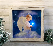 """Angel Star"" Fiber Optic Lighted Canvas Shadow Box - Unique Catholic Gifts"