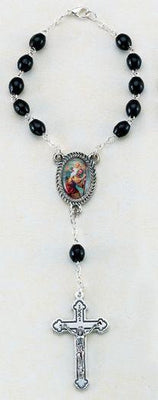 St. Christopher Auto Rosary (Black Wood Beads)