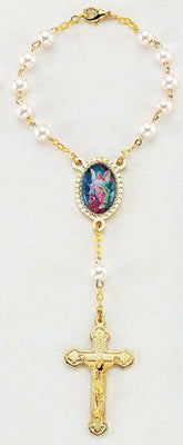 Guardian Angel Auto Rosary (Pearl Beads)