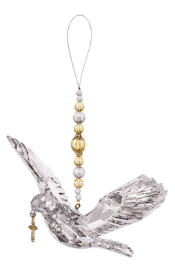 Clear Dove with Gold Beads and Cross Hanging Ornament (5 x 7