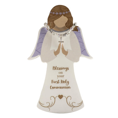 First Communion Angel Figure W/ Crystal Stretch Bracelet - Unique Catholic Gifts