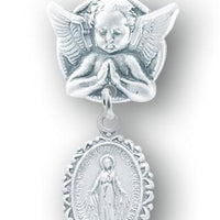Sterling Silver Oval Fancy Edge Miraculous Baby Medal on an Angel Pin - Unique Catholic Gifts