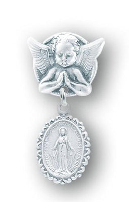 Sterling Silver Oval Fancy Edge Miraculous Baby Medal on an Angel Pin