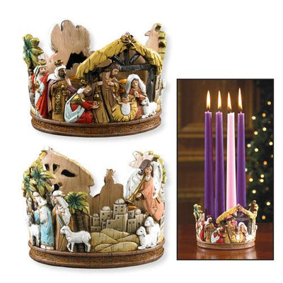 Advent Candle Holder Nativity Scenes  (3 1/2