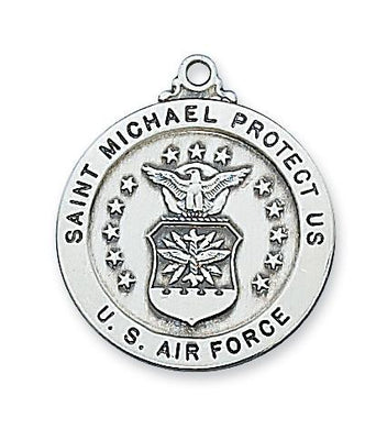 Sterling Silver Saint St Michael Air Force Medal (14/16