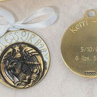 "Angel Bringing God's Blessing Crib Medal (1 3/4"") - Unique Catholic Gifts"