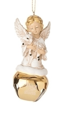 Angel and the Lamb with Bell Ornament (3 3/4