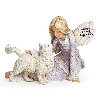 Angel with Cat Memorial Statue 4 1/4
