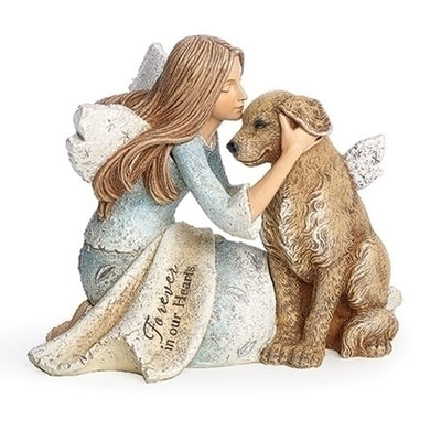 Angel with Dog Memorial Statue 4 1/4