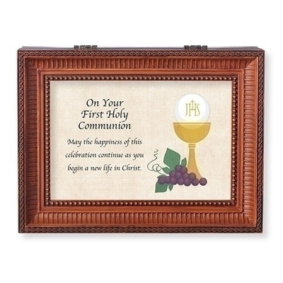 Brown Musical First Communion Keep safe Box -A Friend We Have in Jesus. - Unique Catholic Gifts