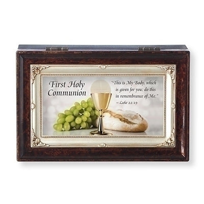 Brown Musical First Communion Keep safe Box -Amazing Grace - Unique Catholic Gifts