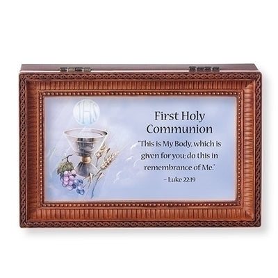 Brown Musical First Communion Keep safe Box - What A Friend We Have In Jesus - Unique Catholic Gifts