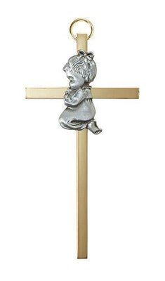 Baby Girl Praying on a Cross ( 4.25