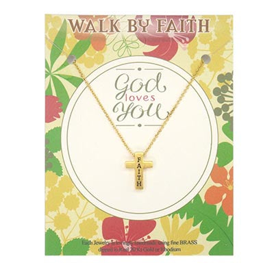 Gold Faith Cross on a Gold Chain - Unique Catholic Gifts