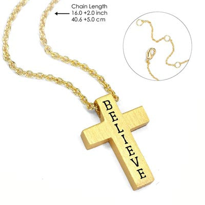 Gold Believe Cross Necklace - Unique Catholic Gifts