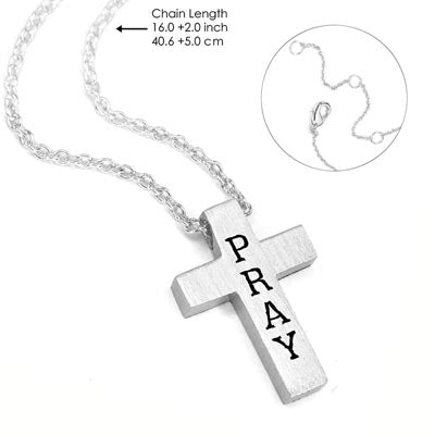 Silver Pray Cross on a Silver Chain - Unique Catholic Gifts