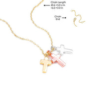 Walk by Faith Holy Trinity Cross Necklace Gold Chain - Unique Catholic Gifts