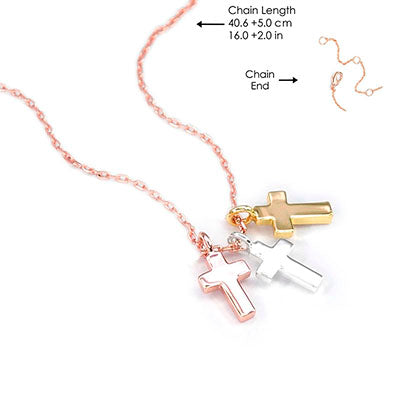 Walk by Faith Holy Trinity Cross Necklace Rose Gold Chain - Unique Catholic Gifts