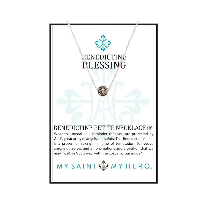 Benedictine Petite Necklace Silver with Silver chain - Unique Catholic Gifts