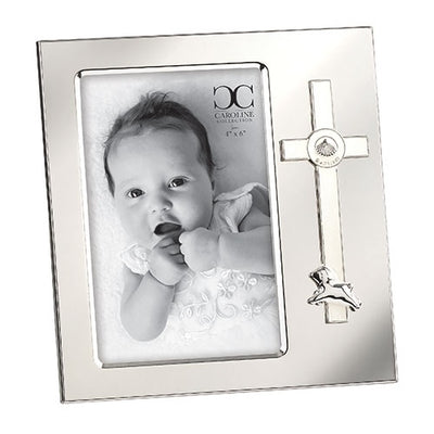 Baptism Frame Cross and Lamb  (holds 4 x 6